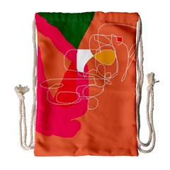 Orange Abstraction Drawstring Bag (large) by Valentinaart