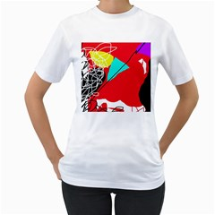 Colorful Abstraction Women s T Shirt (white)  by Valentinaart