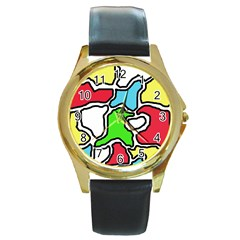 Colorful Abtraction Round Gold Metal Watch by Valentinaart