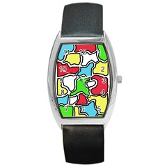 Colorful Abtraction Barrel Style Metal Watch by Valentinaart