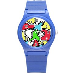 Colorful Abtraction Round Plastic Sport Watch (s) by Valentinaart
