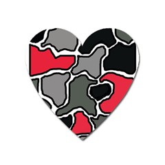Black, Gray And Red Abstraction Heart Magnet by Valentinaart