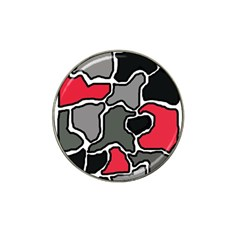 Black, Gray And Red Abstraction Hat Clip Ball Marker by Valentinaart