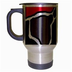 Black, Gray And Red Abstraction Travel Mug (silver Gray) by Valentinaart