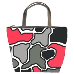 Black, Gray And Red Abstraction Bucket Bags by Valentinaart