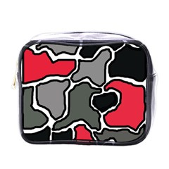 Black, Gray And Red Abstraction Mini Toiletries Bags by Valentinaart