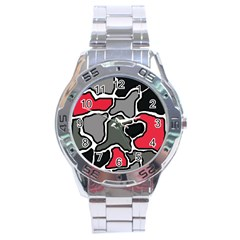 Black, Gray And Red Abstraction Stainless Steel Analogue Watch by Valentinaart