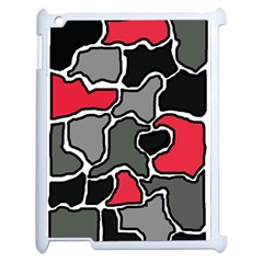 Black, Gray And Red Abstraction Apple Ipad 2 Case (white) by Valentinaart
