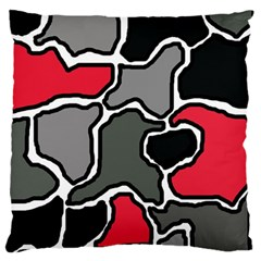 Black, Gray And Red Abstraction Large Cushion Case (two Sides) by Valentinaart