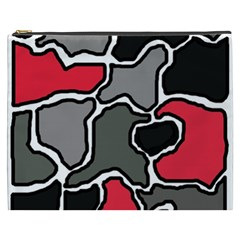 Black, Gray And Red Abstraction Cosmetic Bag (xxxl)  by Valentinaart