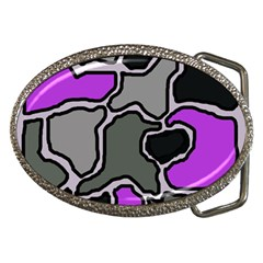 Purple And Gray Abstraction Belt Buckles