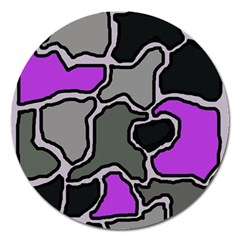 Purple And Gray Abstraction Magnet 5  (round) by Valentinaart