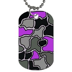 Purple And Gray Abstraction Dog Tag (two Sides) by Valentinaart