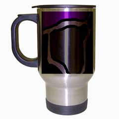 Purple And Gray Abstraction Travel Mug (silver Gray) by Valentinaart