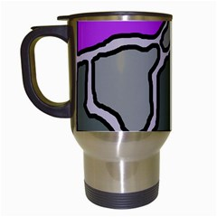 Purple And Gray Abstraction Travel Mugs (white) by Valentinaart