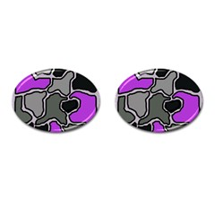 Purple And Gray Abstraction Cufflinks (oval) by Valentinaart