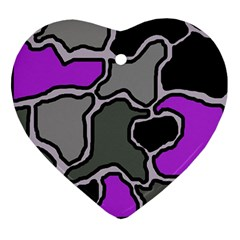 Purple And Gray Abstraction Heart Ornament (2 Sides) by Valentinaart