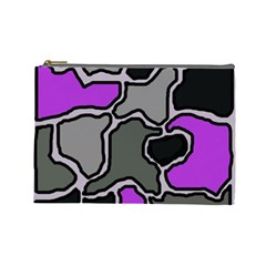 Purple And Gray Abstraction Cosmetic Bag (large)  by Valentinaart