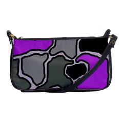 Purple And Gray Abstraction Shoulder Clutch Bags by Valentinaart