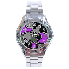 Purple And Gray Abstraction Stainless Steel Analogue Watch by Valentinaart