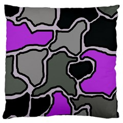 Purple And Gray Abstraction Large Cushion Case (one Side) by Valentinaart