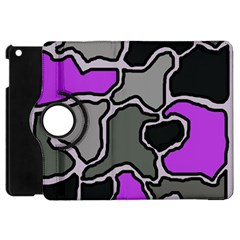 Purple And Gray Abstraction Apple Ipad Mini Flip 360 Case by Valentinaart