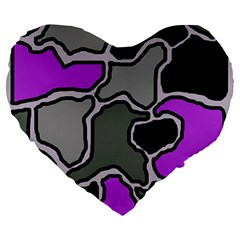 Purple And Gray Abstraction Large 19  Premium Flano Heart Shape Cushions by Valentinaart