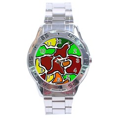 Africa Abstraction Stainless Steel Analogue Watch by Valentinaart