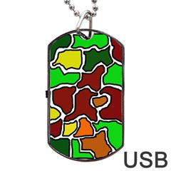 Africa Abstraction Dog Tag Usb Flash (one Side) by Valentinaart