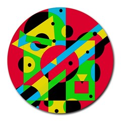 Colorful Geometrical Abstraction Round Mousepads by Valentinaart