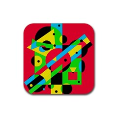 Colorful Geometrical Abstraction Rubber Coaster (square)