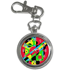 Colorful Geometrical Abstraction Key Chain Watches by Valentinaart