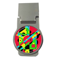 Colorful Geometrical Abstraction Money Clips (round)  by Valentinaart