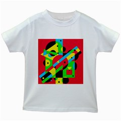 Colorful Geometrical Abstraction Kids White T Shirts by Valentinaart