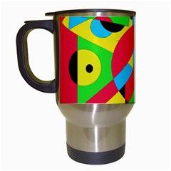 Colorful Geometrical Abstraction Travel Mugs (white) by Valentinaart