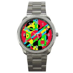 Colorful Geometrical Abstraction Sport Metal Watch by Valentinaart