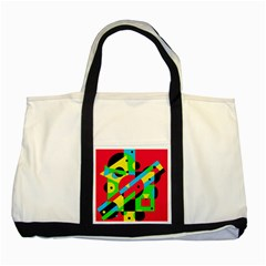 Colorful Geometrical Abstraction Two Tone Tote Bag by Valentinaart