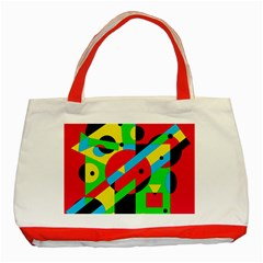 Colorful Geometrical Abstraction Classic Tote Bag (red) by Valentinaart