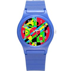 Colorful Geometrical Abstraction Round Plastic Sport Watch (s) by Valentinaart
