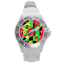 Colorful Geometrical Abstraction Round Plastic Sport Watch (l) by Valentinaart