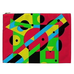 Colorful Geometrical Abstraction Cosmetic Bag (xxl)  by Valentinaart