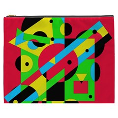 Colorful Geometrical Abstraction Cosmetic Bag (xxxl)  by Valentinaart