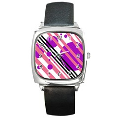 Purple Lines And Circles Square Metal Watch by Valentinaart
