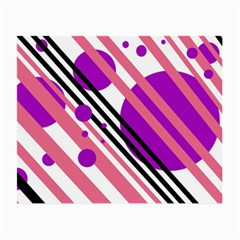 Purple Lines And Circles Small Glasses Cloth (2-side) by Valentinaart