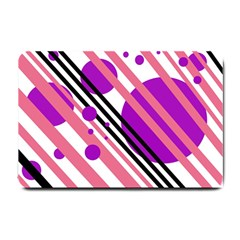 Purple Lines And Circles Small Doormat  by Valentinaart