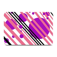 Purple Lines And Circles Plate Mats by Valentinaart