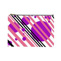 Purple Lines And Circles Cosmetic Bag (large)  by Valentinaart