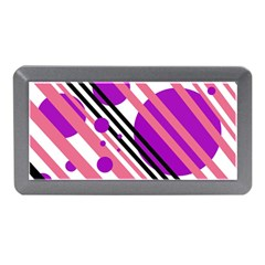 Purple Lines And Circles Memory Card Reader (mini) by Valentinaart