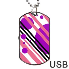 Purple Lines And Circles Dog Tag Usb Flash (one Side) by Valentinaart