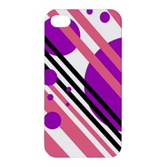 Purple Lines And Circles Apple Iphone 4/4s Premium Hardshell Case by Valentinaart